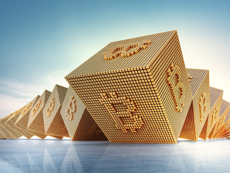 Bitcoin symbol in blockchain technology and cryptocurrency concept. Abstract background 3d illustration.